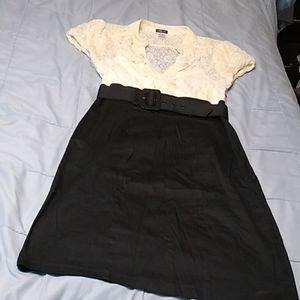 Maurices Creme Lace & Black Dress 9